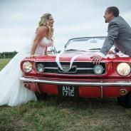 Wedding couple on Mustang