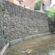 Gabion basket retaining Wall - adjacent river - Pavilion Construction